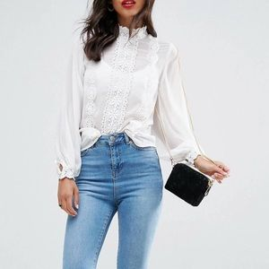 ASOS High Neck Sheer Blouse with Lace Trims